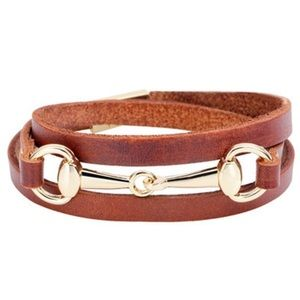 Jewelry - New listing!!Brown Leather horse bit wrap bracelet